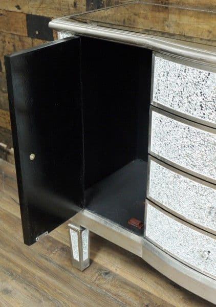 Crackle Mirrored Cabinet Sideboard Silver Sparkly Broken Glass
